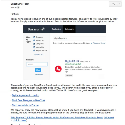 BuzzSumo New Feature Email