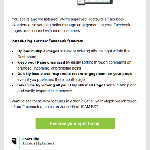 Hootsuite Product Update Email