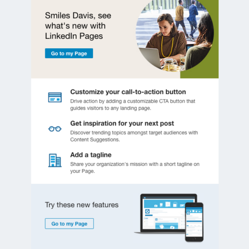 LinkedIn Product Update Email to Group Owners