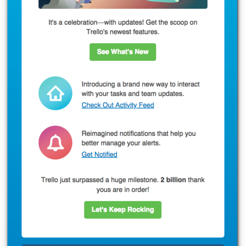 Trello Product Update Email
