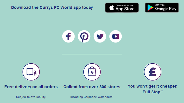 Buttons for Apps Links from Currys PC World Email Marketing Template