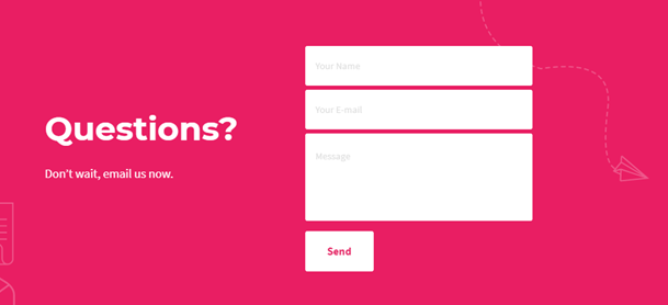 Email signup form example with ghost text