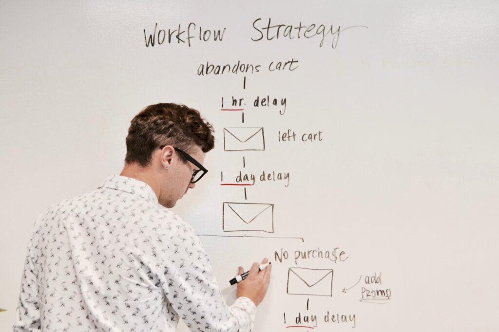 Man with whiteboard writing marketing strategy