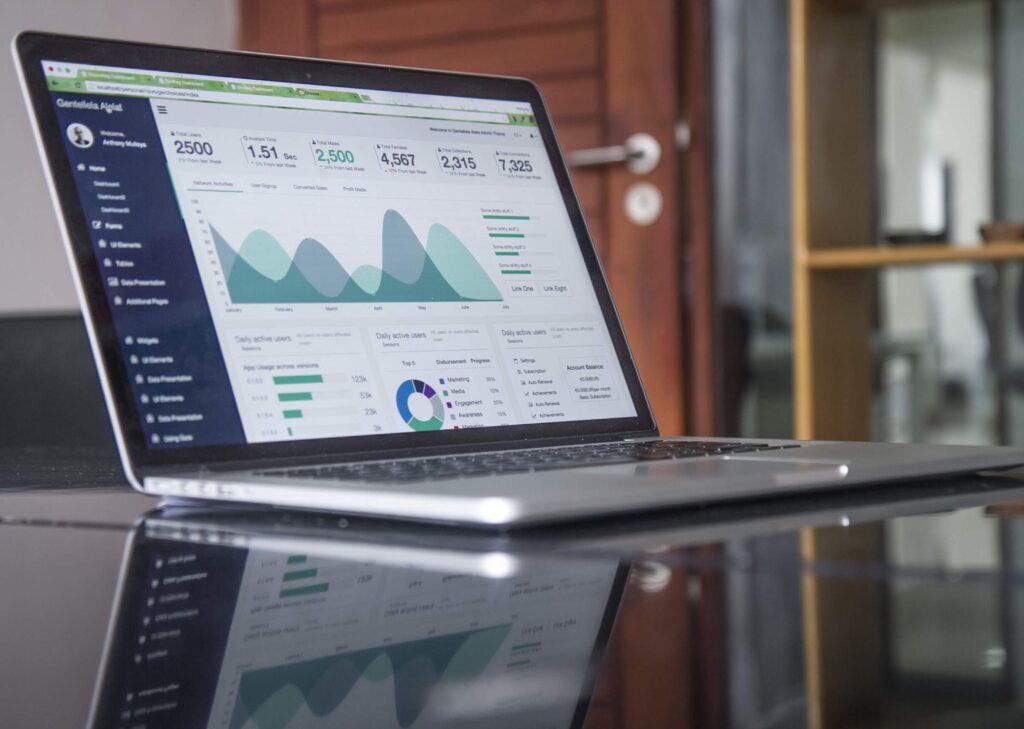 Web charts on laptop screen